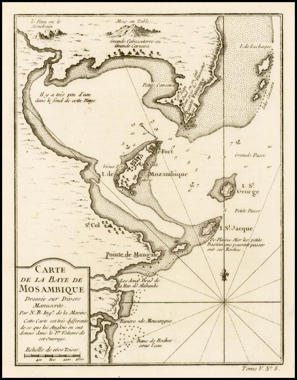 Carte De La Baye De Mosambique . . .  By Jacques Nicolas Bellin