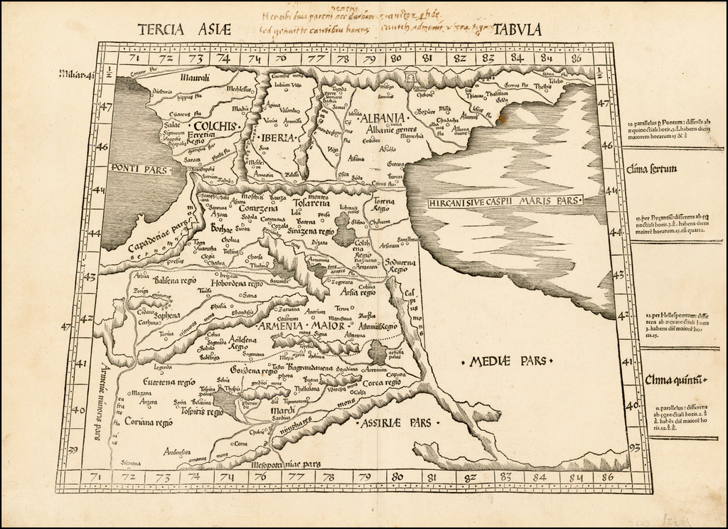 Tercia Asie Tabula  (Armenia, etc.) (with early manuscript additions) By Martin Waldseemüller