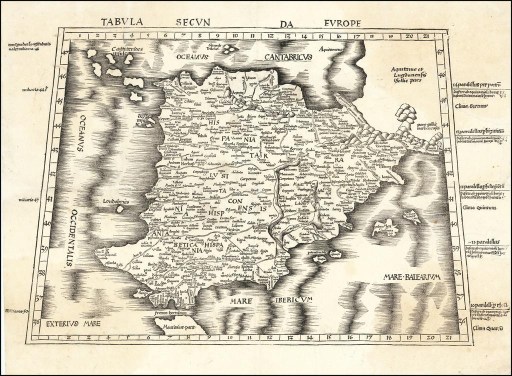 Tabula Secunda Europe (Spain & Portugal) By Martin Waldseemüller