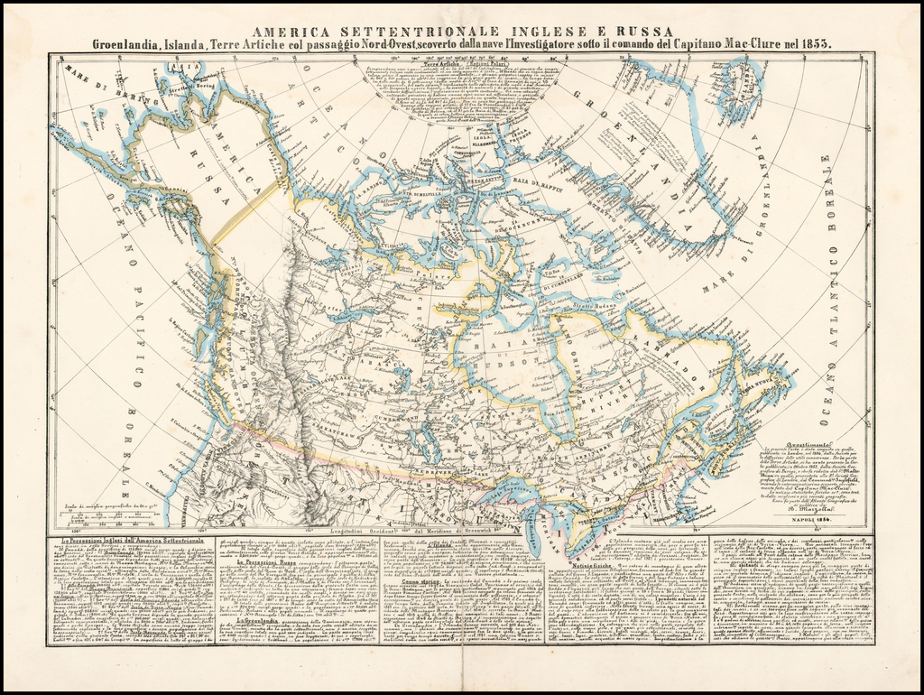 America Settentrionale Inglese E Russa Groenlandia, Islanda, Terre Artiche col passagio Nord-Ouest, scoverto dalla nae l'Investigatore sotto il comando del Capitano Mac-Clure nel 1853. By Benedetto Marzolla