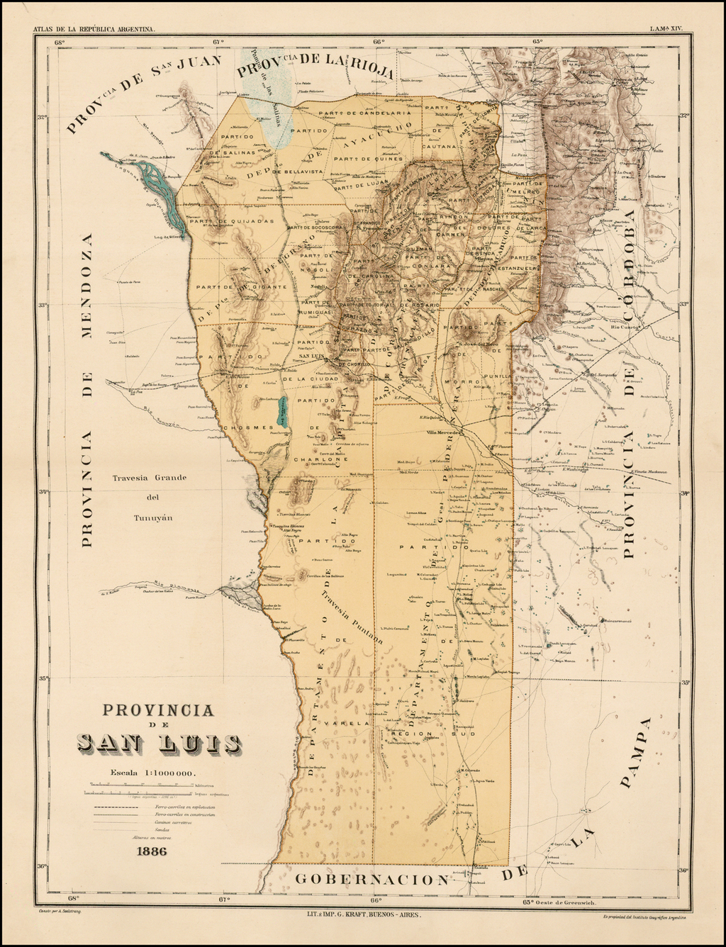 Provincia De San Luis . . . 1886  (Argentina) By Guillermo Kraft