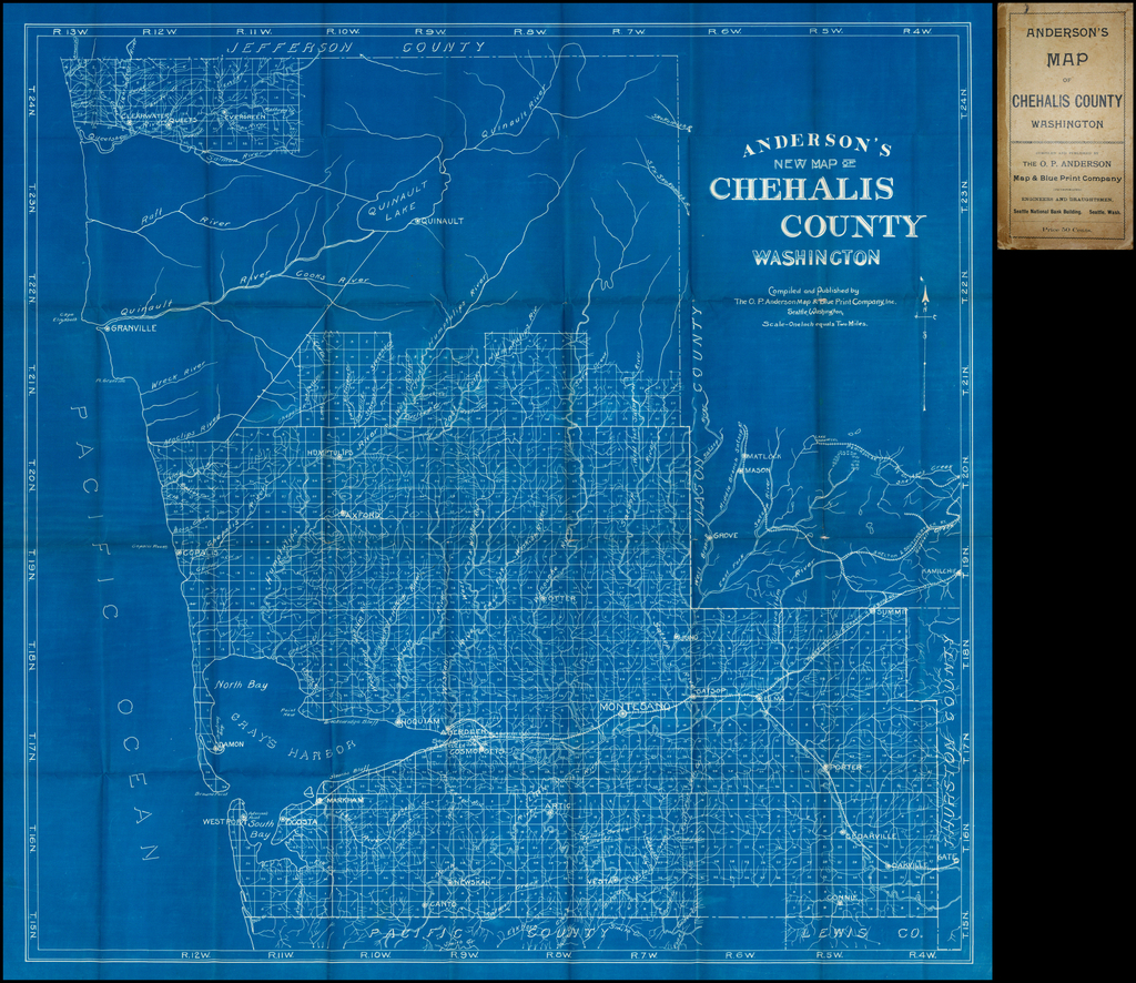 Anderson's New Map of Chehalis County Washington  Compiled and Published by The O.P. Anderson Map & Blue Print Company Inc. Seattle, Washington.  Scale - One Ince Equals Two Miles By O.P. Anderson Map & Blue Print Company