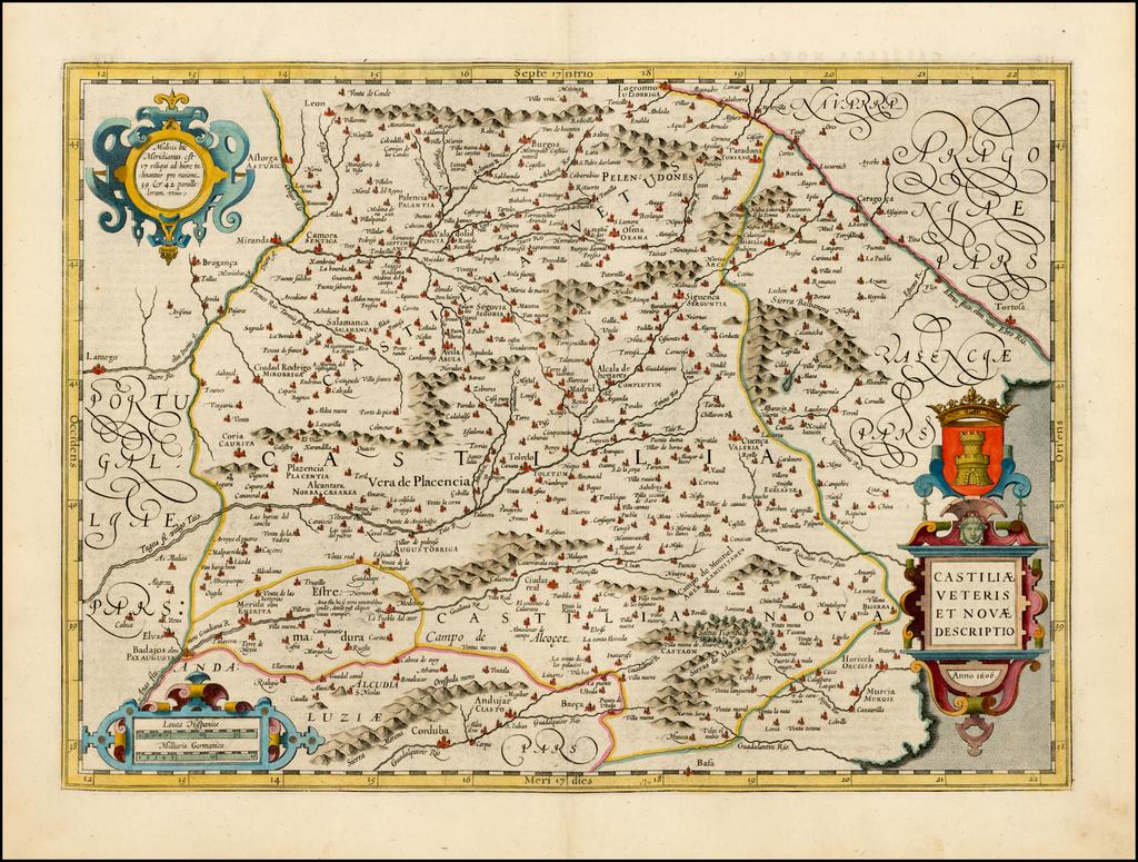 Castiliae Veteris et Novae Descriptio.  1606 By Jodocus Hondius