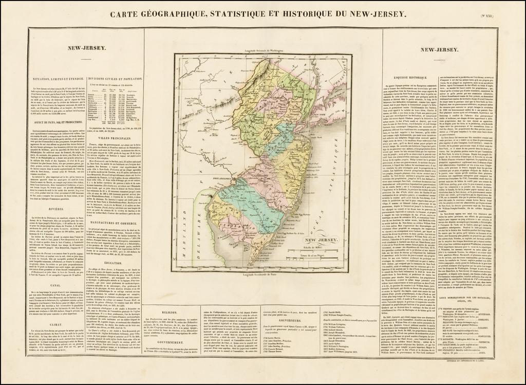 Carte Geographique, Statistique et Historique Du New-Jersey By Jean Alexandre Buchon