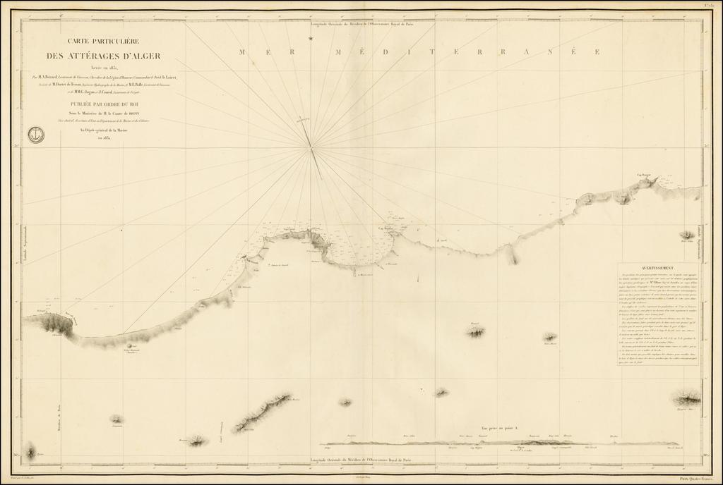 [Algiers, Algeria] Carte Particulière des Atterrages d'Alger Levée en 1831. By Depot de la Marine