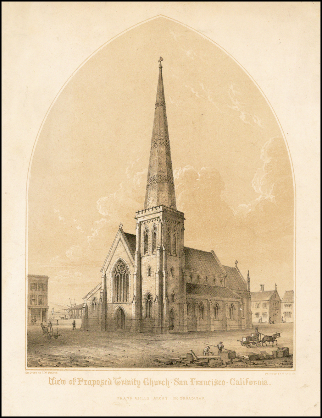 View of Proposed Trinity Church - San Francisco - California.  . . . By G.W. Burton