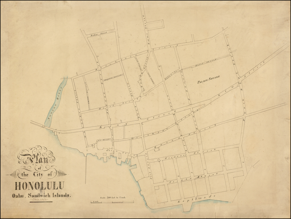 Plan of the City of Honolulu Oahu, Sandwich Islands. By Anonymous