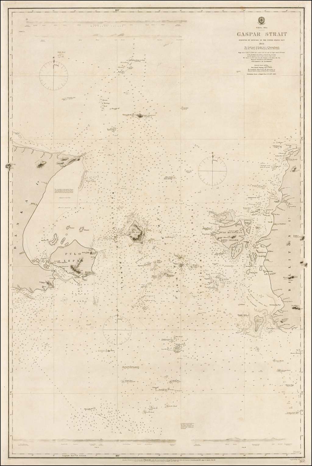 China Sea Gaspar Strait Surveyed by Officers of the United States Navy 1854. By British Admiralty