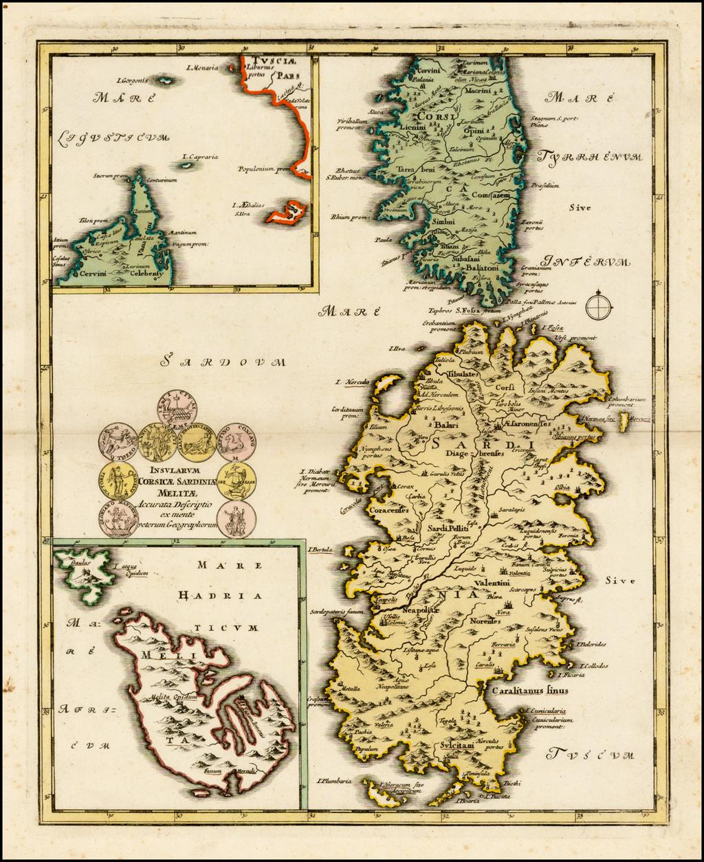 Insularum Corsicae Sardiniae Melitae Accurata Descriptio ex mente veterum Geographorum By Johann Christoph Weigel