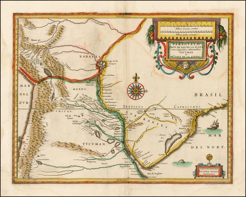 Paraguay o Prov. De Rio De La Plata cum regionibus adiacentibus Tucuman et Sta. Cruz De la Sierra [English edition!] By Jodocus Hondius