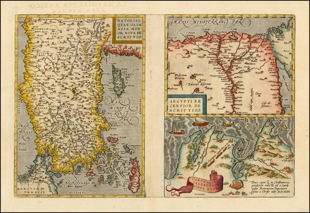 Natoliae Quae Olim Asia Minor Nova Descriptio [with] Aegypti Recentior Descriptio [with] Carthageinis Celeberrimi Sinus Typus  [shows Cyprus] By Abraham Ortelius