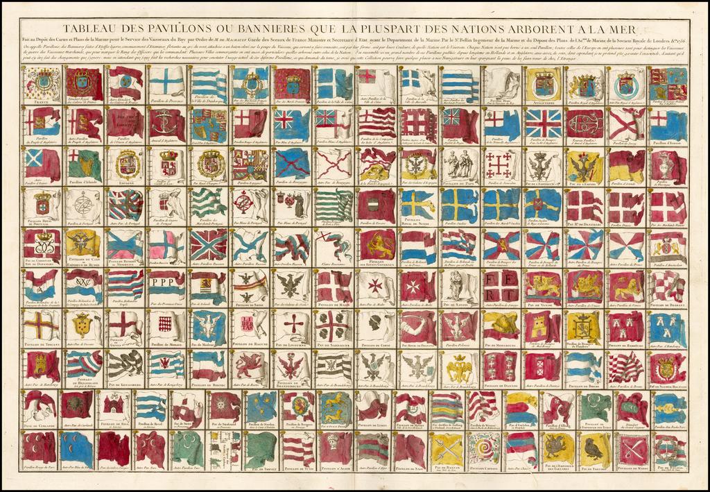 Tableau Des Pavillons ou Bannieres Que La Pluspart Des Nations Arborent a la Mer . . . 1756 By Jacques Nicolas Bellin