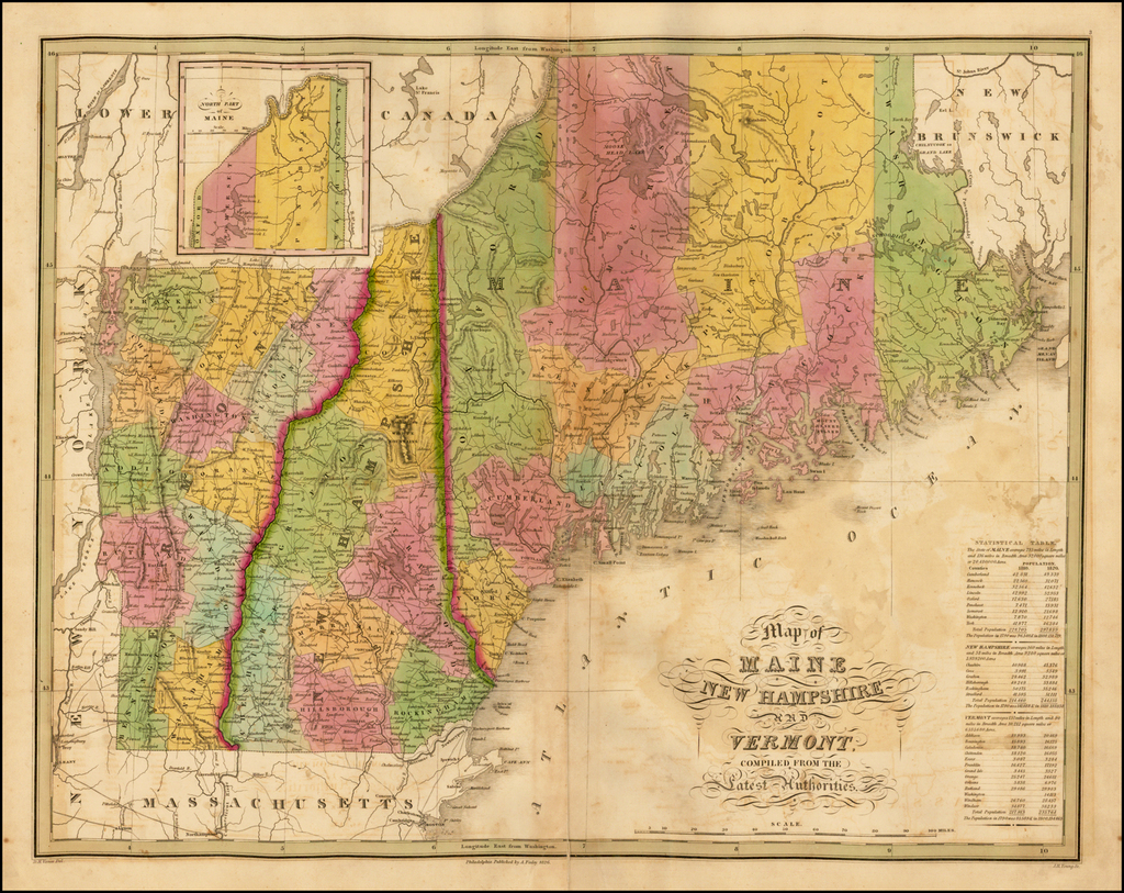 Map of Maine, New Hampshire and Vermont, Compiled From The Latest Authorities By Anthony Finley
