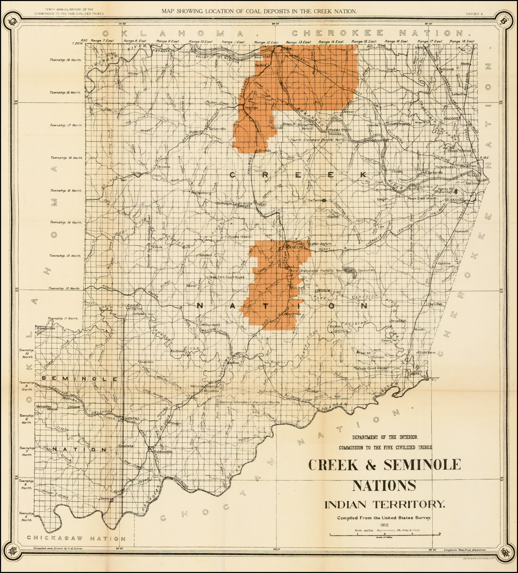 Map of the Creek & Seminole Nations Indian Territory . . .  1899 By United States Department of the Interior