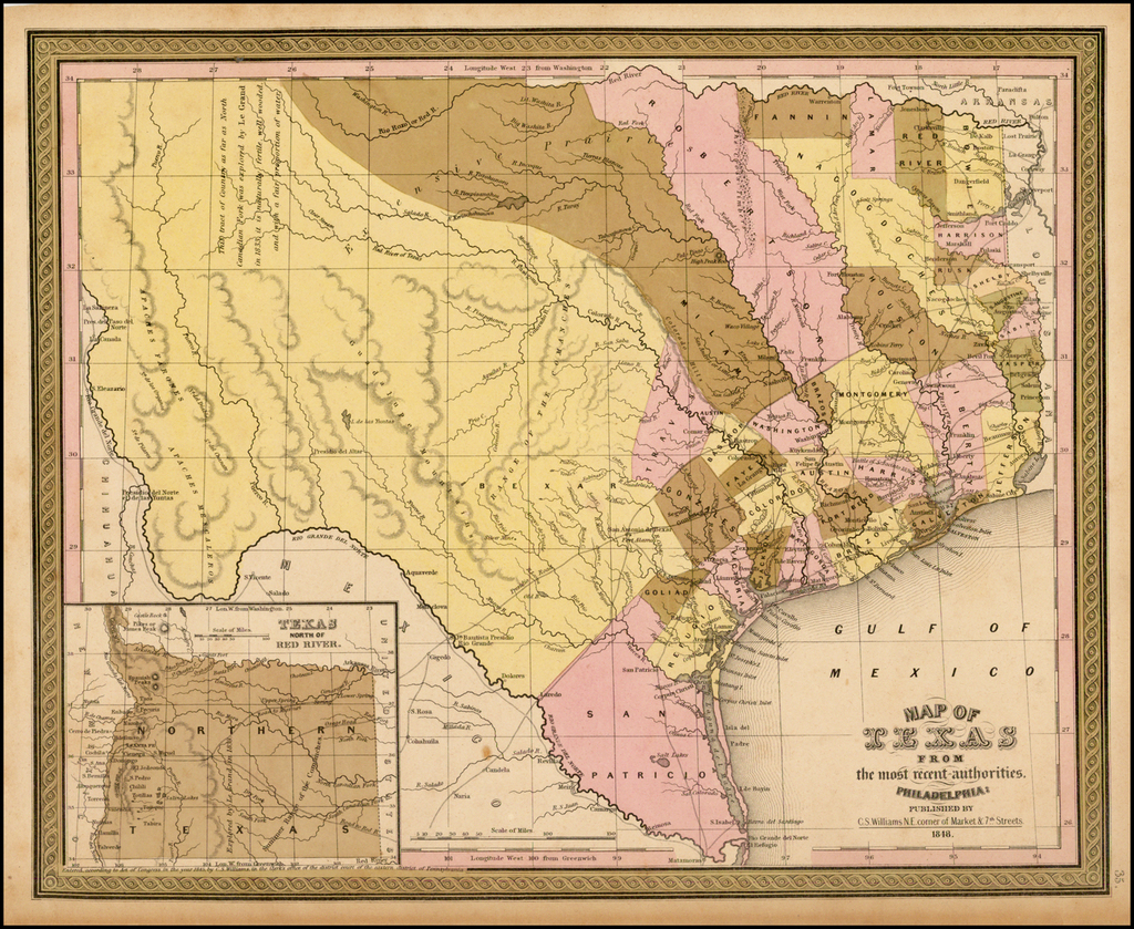 Map of Texas From the most recent authorities . . .  1848 By Samuel Augustus Mitchell