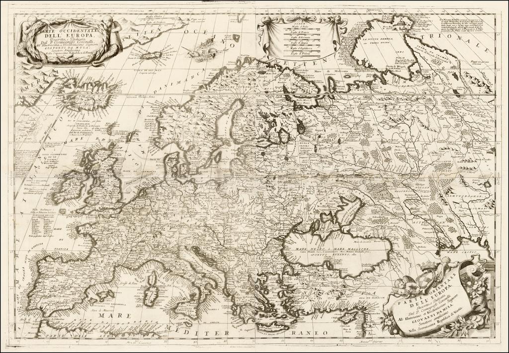 Parte Occidentale Dell' Europa . . .  [and] Parte Orientale Dell' Europa . . .  [Coronelli's 2 sheet map of Europe] By Vincenzo Maria Coronelli