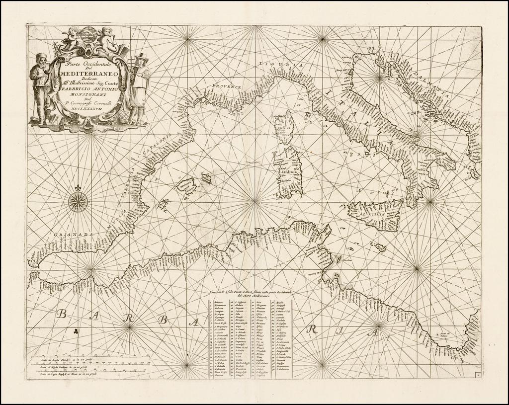 Parte Occidentale del Mediterraneo. . . MDCLXXXXVII By Vincenzo Maria Coronelli