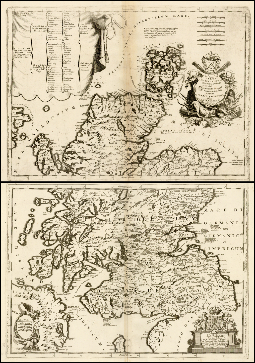 [Scotland]  Scotia Parte Settentrionale . . . [and] Scotia Partie Meridionale . . . By Vincenzo Maria Coronelli
