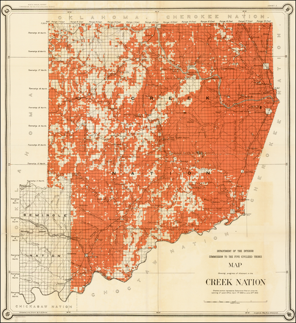 Map Showing progress of Allotment in the Creek Nation . . . By United States GPO