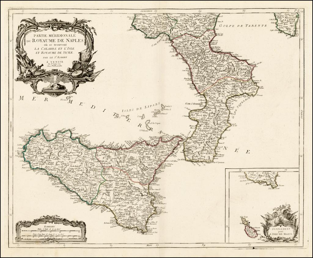 Partie Meridionale du Royaume De Naples ou se trouvent La Calabre et L'Isle et Royaume de Sicile . . . 1779  [with] Supplement pur L'Isle De Malte By Paolo Santini