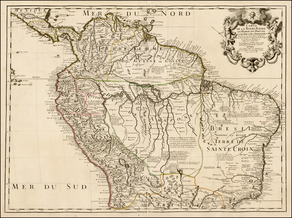Carte de la Terre Ferme du Perou, Du Bresil, et du Pays  des Amazons  . . . 1703  (1st state-Rue de Canettes address) By Guillaume De L'Isle