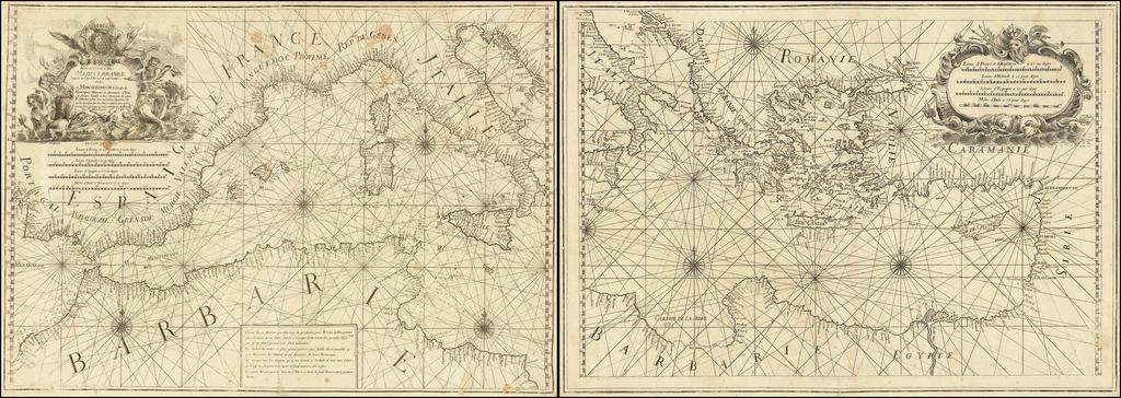 Nouvelle Carte de la Mer Mediterranee Juscques au Cap S. Vincent et Cap Cantin By Francois Olivier