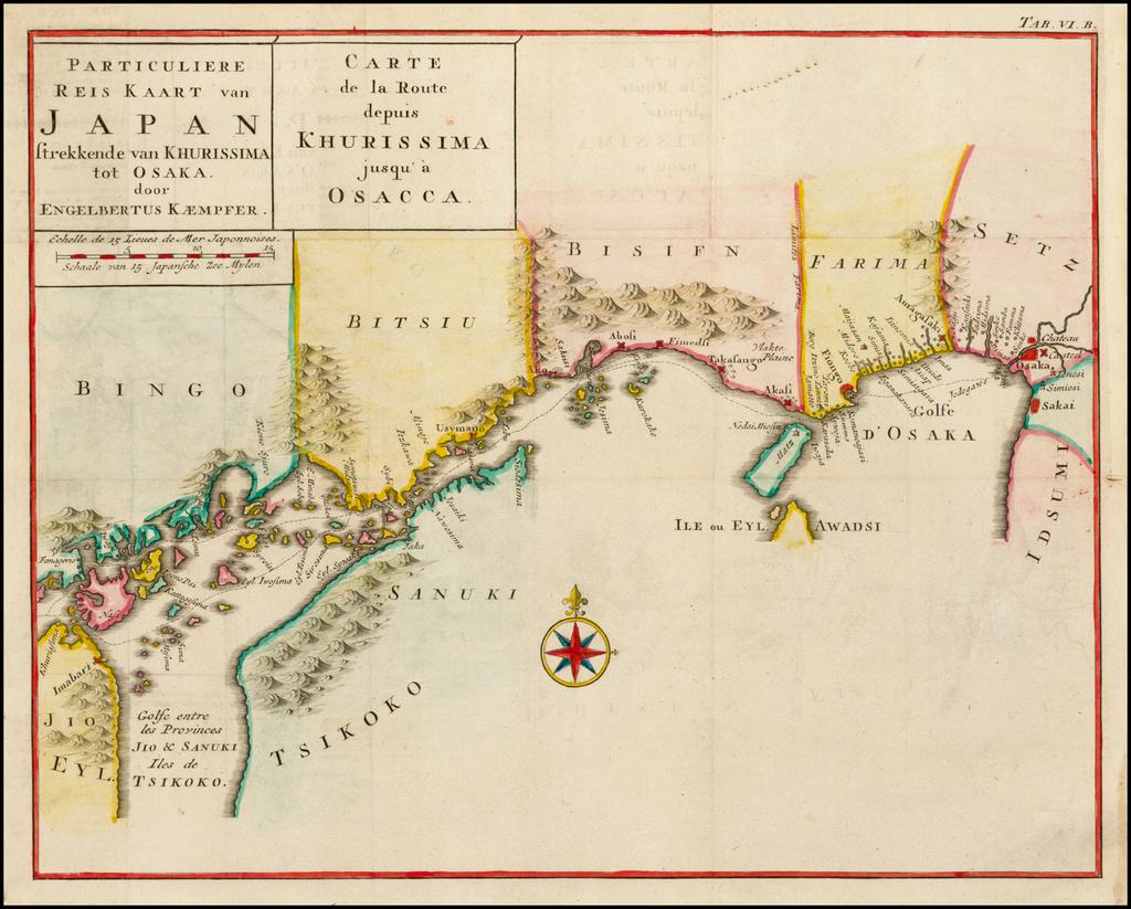 Particuliere Reis Kaart van Japan strekkende van Khurissima tot Osaka door Engelbertus Kaempfer  |  Carte de la Route depuis Khurissima jusqu'a Osacca By Engelbert Kaempfer