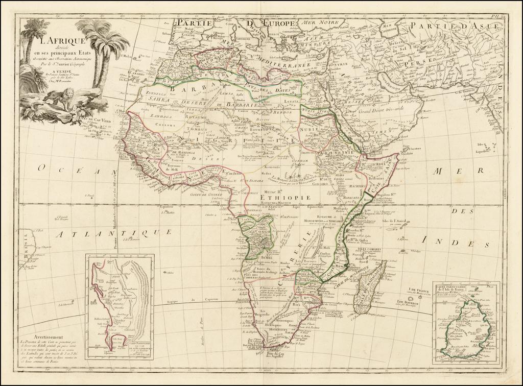 L'Afrique divisee en ses principaux Etats Assujettie aux Observations Astronomique . . .  By Paolo Santini