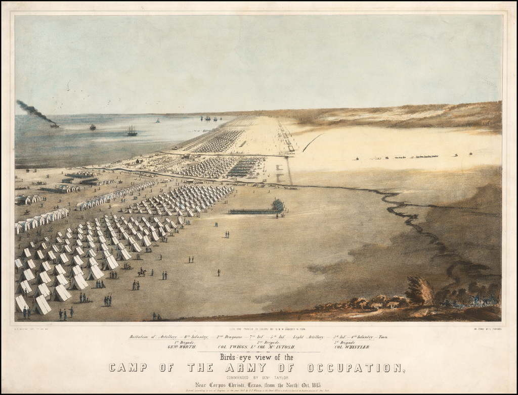 Birds-eye View of the Camp of the Army of Occupation Commanded by Genl. Taylor Near Corpus Christi, Texas [from the North] Oct. 1845. . .  By D.F. Whiting