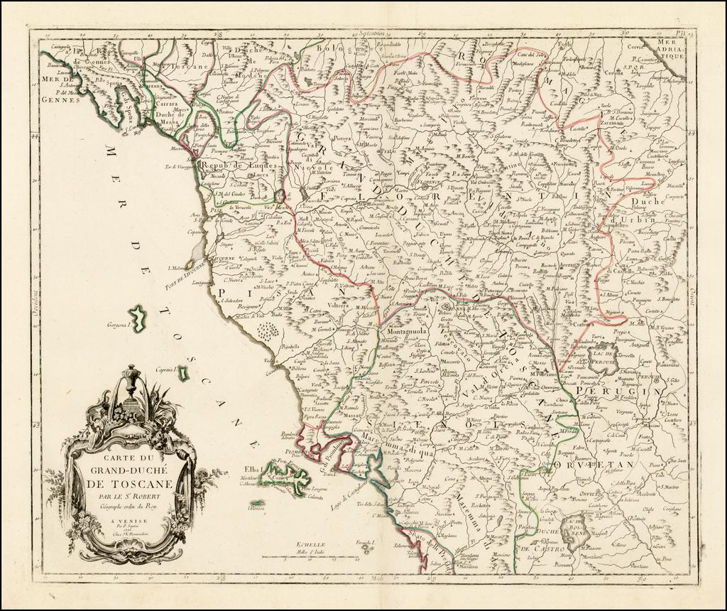 Carte Du Grand-Duche De Toscane . . . 1776 By Paolo Santini