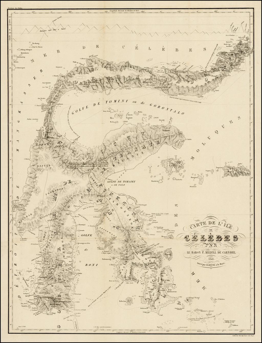 Carte de L'Ile De Celebes Par Le Baron P. Melville De Carnbee.  1848 By Pieter Baron Melvill van Carnbee