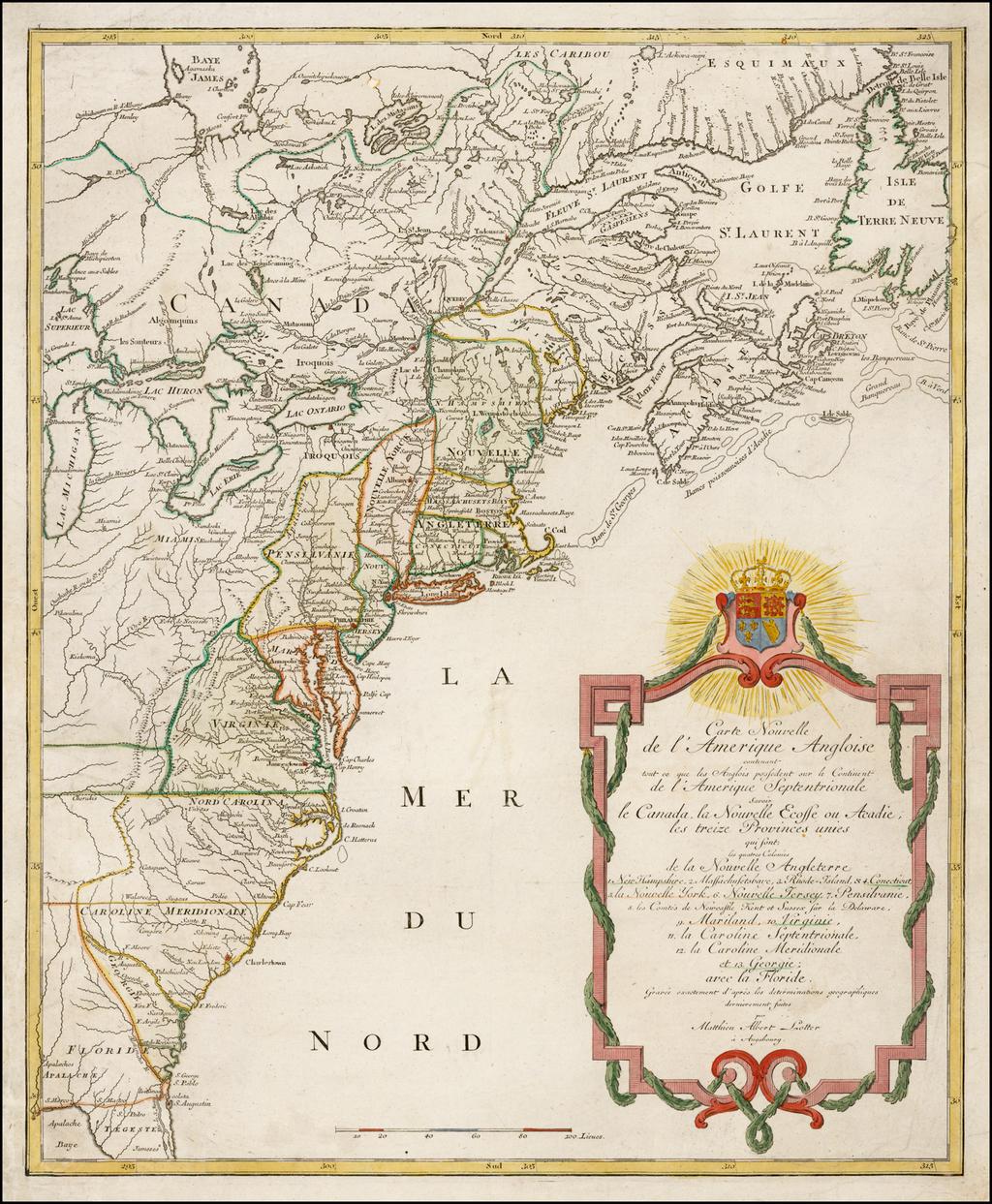 Anglois carte nouvelle de l'amerique angloise contenant tout ce que