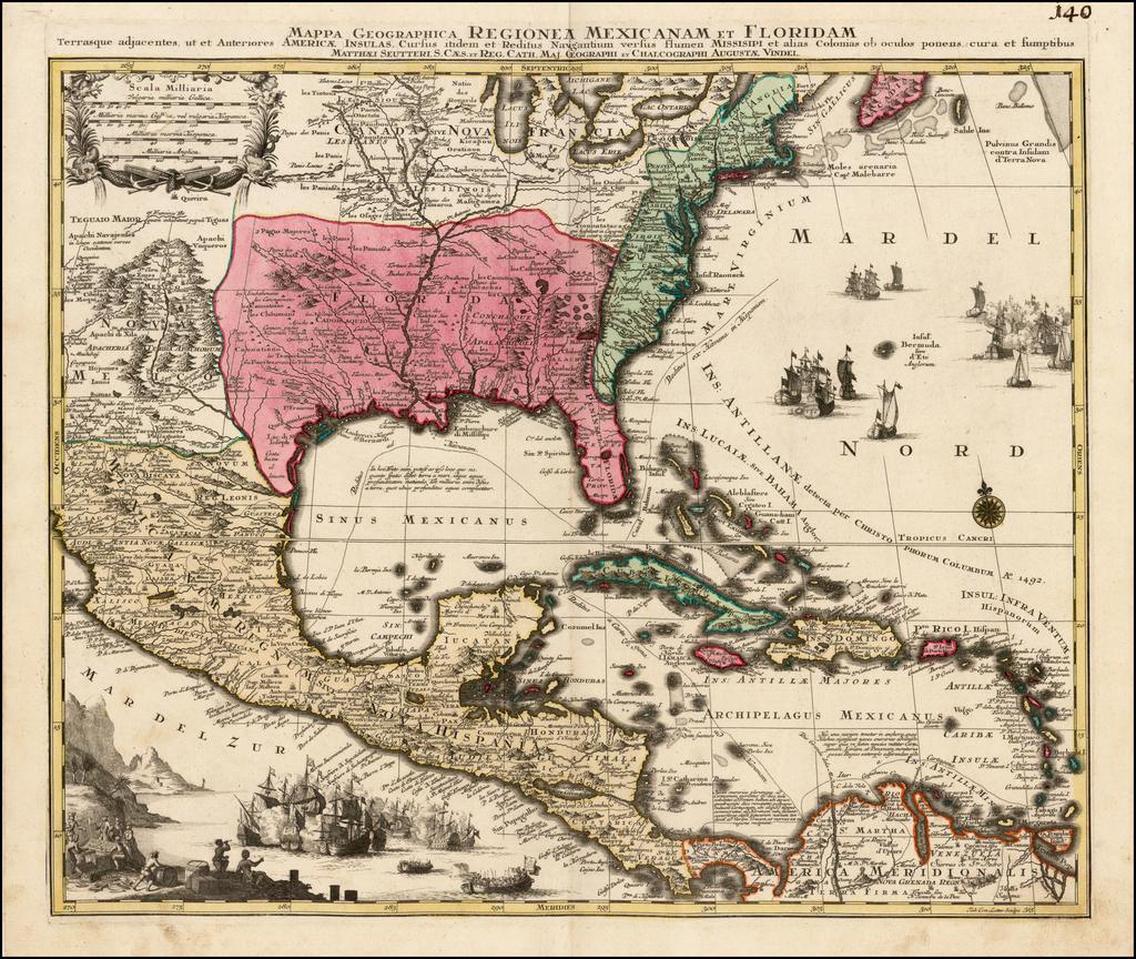 Mappa Geographica, Regionem Mexicanam Et Floridam Terrasque adjacentes, ut et Anteriores Americae Insulas, Cursus itidem et Reitus Navigantium versus flumem Missisipi . . .  By Matthaus Seutter