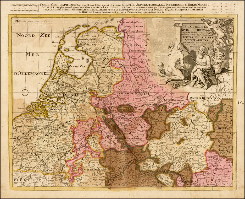 Le Cours de la Riviere Rhein depuis sa Source jusques a son Emboucheure ou sont distingues Toutes les Estates et Souverainetes . . .  By Peter Schenk