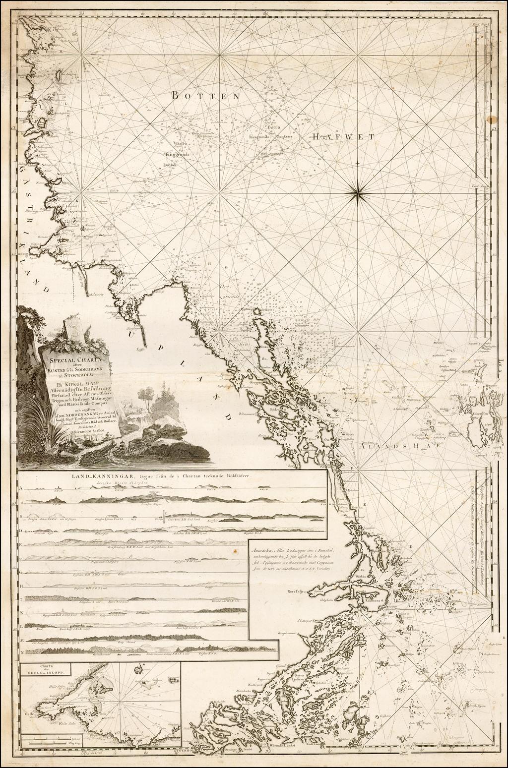 Special Charta ofver Kusten fran Soderhamn til Stockholm . . . 1800 By Johann Nordenankar