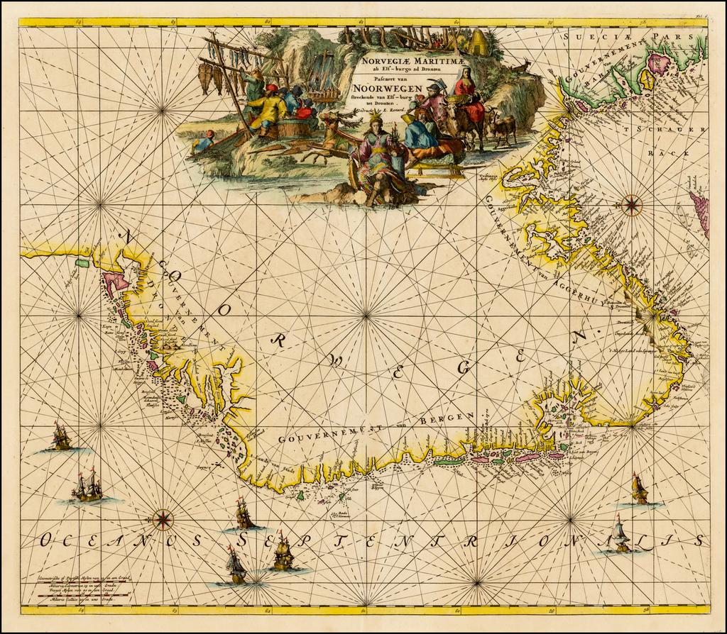 Norvegiae Maritimae ab Els-burgo ad Dronten /  Pascaert van Noorwegen streckende van Els-burg tot Dronten . . .  By Louis Renard