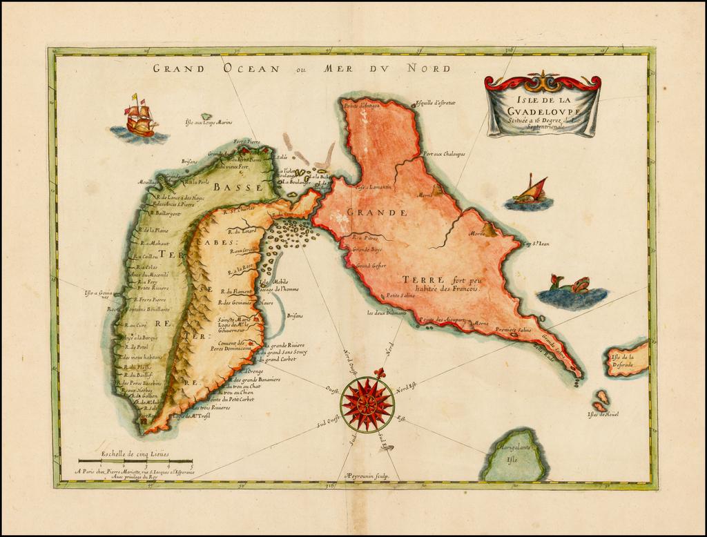 Carte De La Guadeloupe Scituee a 16 Degrez de Lat. Septentrionale By Pierre Mariette
