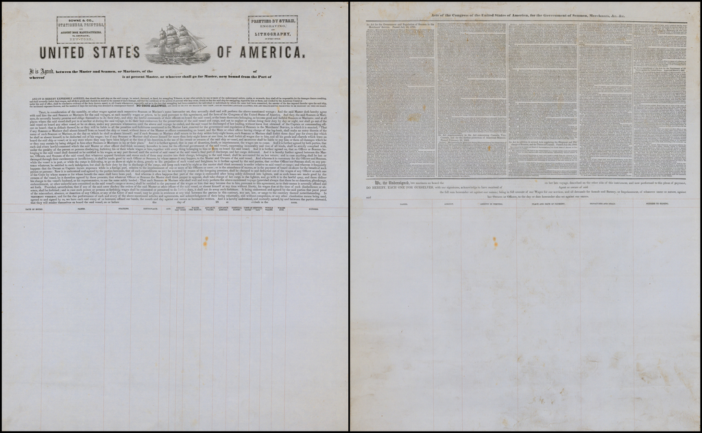 (Act of Agreement Broadside. Maritime Document) By Bowne & Co.