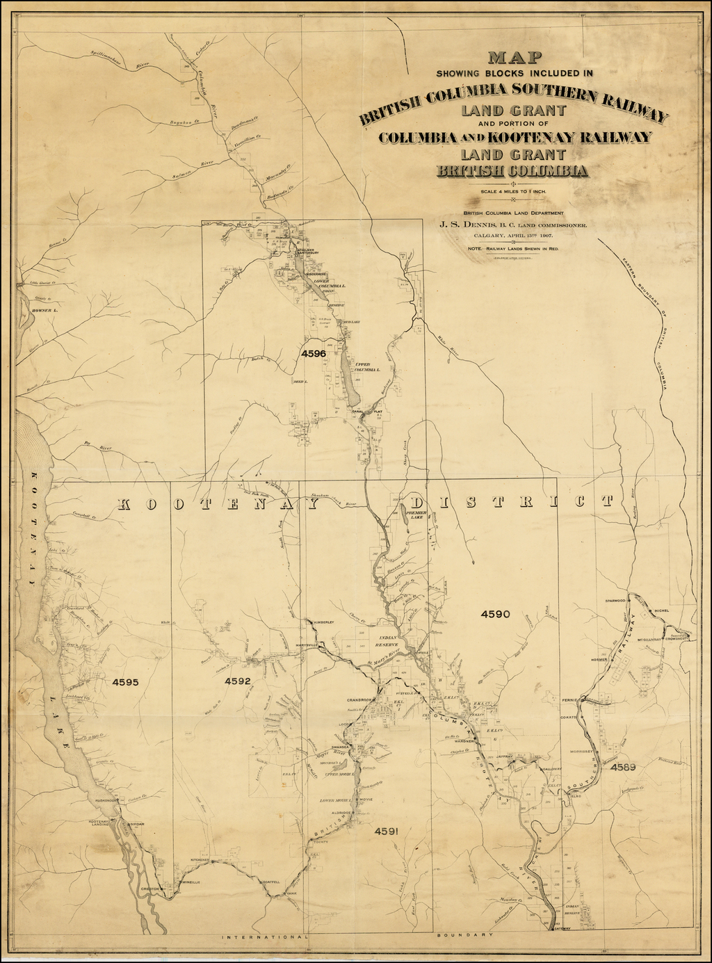 Map Showing Blocks Included in British Columbia Southern Railway Land Grant and portion of Columbia and Kootenay Railway Land Grant British Columbia . . . 1907 By British Columbia Land Department