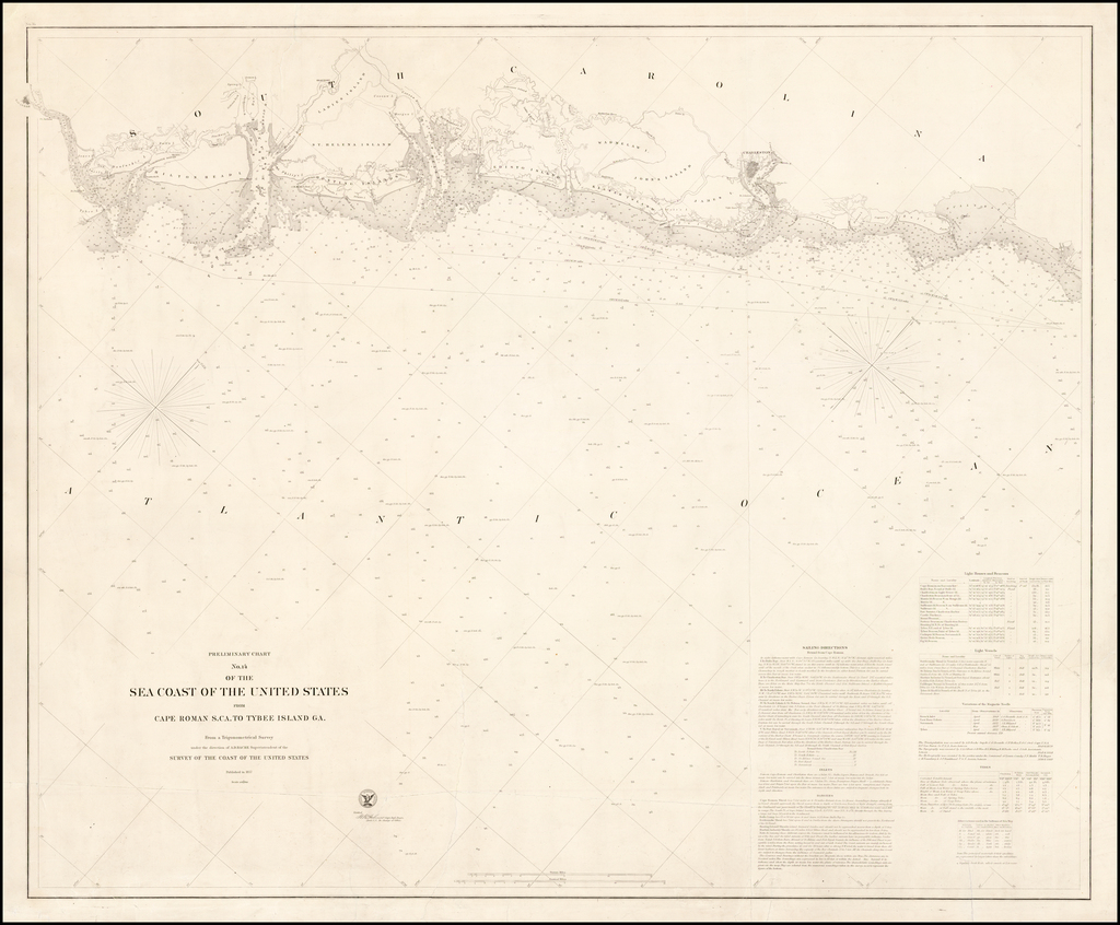 Preliminary Chart No. 14 of the Sea Coast of the United States from Cape Roman S.CA. To Tybee Island GA.  From a Trigonometric Survey under the direction of A.D. Bache Superintendent . . .  (Unrecorded/Updated Separately Issued Edition) By United States Coast Survey