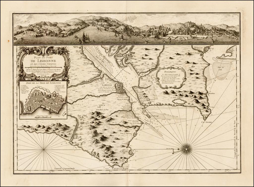 Plan du Port de Lisbonne et des Costes Voisines . . . MDCCLVI By Jacques Nicolas Bellin