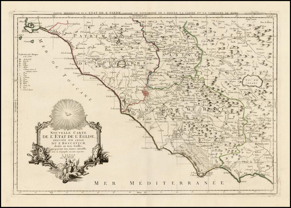 Nouvelle Carte De L'Etat de L'Eglise, Dressee Sur Celle Du P. Boscovich, divisee en trois feuilles . . . 1776 By Paolo Santini