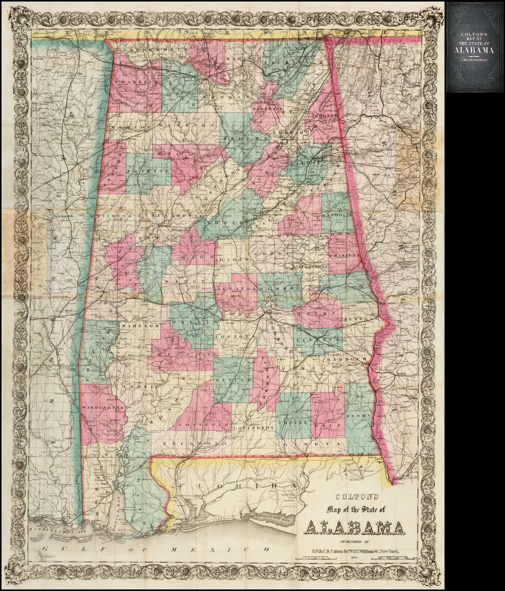 Colton's Map of the State of Alabama . . . 1870 (Pocket Map) By G.W.  & C.B. Colton