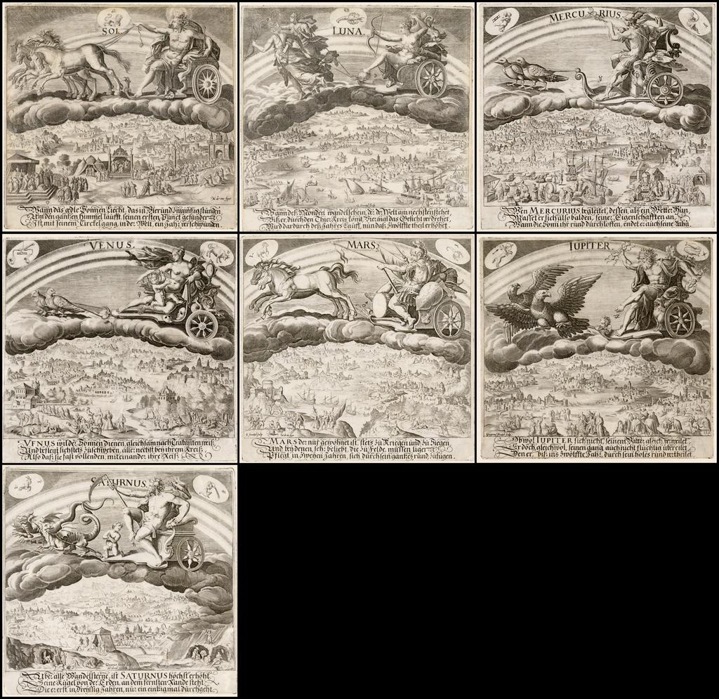 [Planetarum Effectus et eorum in signis Zodiaci…]:  Sol - Luna - Mercurius - Venus - Mars - Iupiter - Saturnus. By Maerten de Vos
