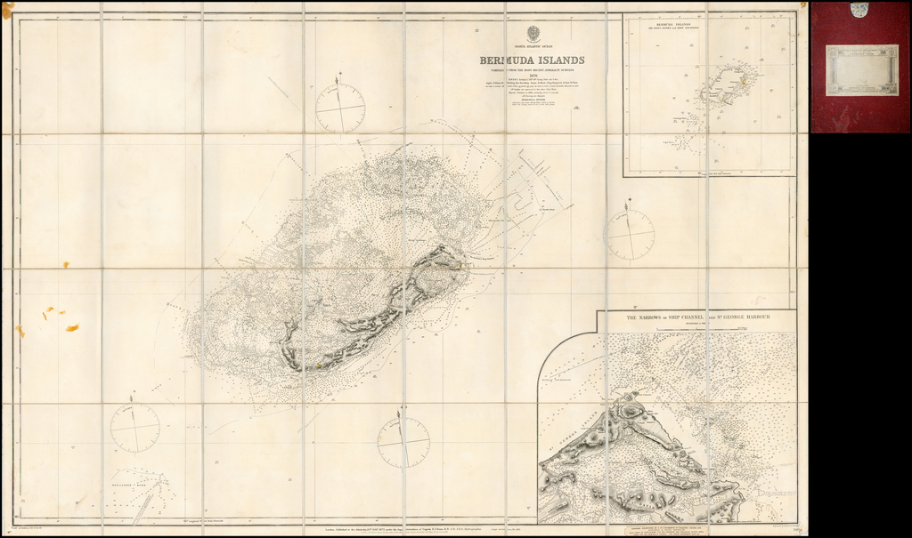 Bermuda Islands Compiled From The Most Recent Admiralty Surveys 1876 . . . 1881  (St. George Harbour and Environs Inset)  By British Admiralty