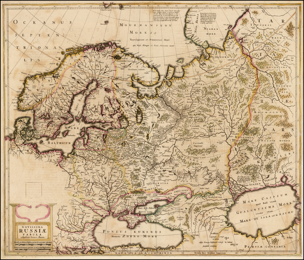 Novissima Russiae Tabula Authore Isaaco Massa  (Rare English Edition / Proof State!) By Henricus Hondius