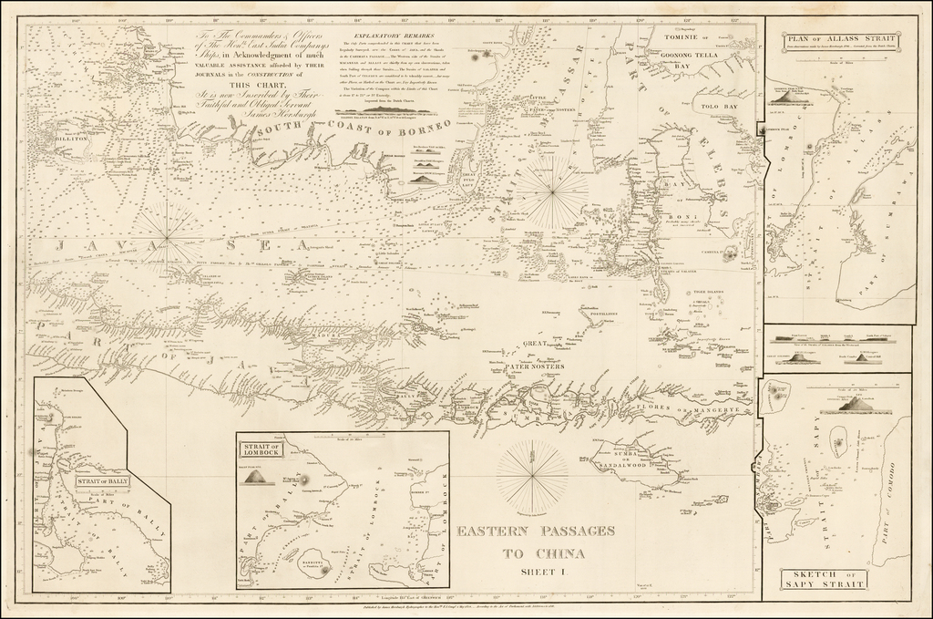 Eastern Passages To China Sheet 1 (Java, Bali, Lombock, Sumbawa, Southern Borneo, Celebes, etc.) (Includes Sketch of the Bally Straits) By James Horsburgh