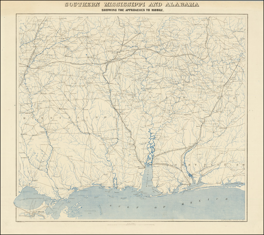 Southern Mississippi and Alabama  Showing The Approaches To Mobile. By United States Coast Survey