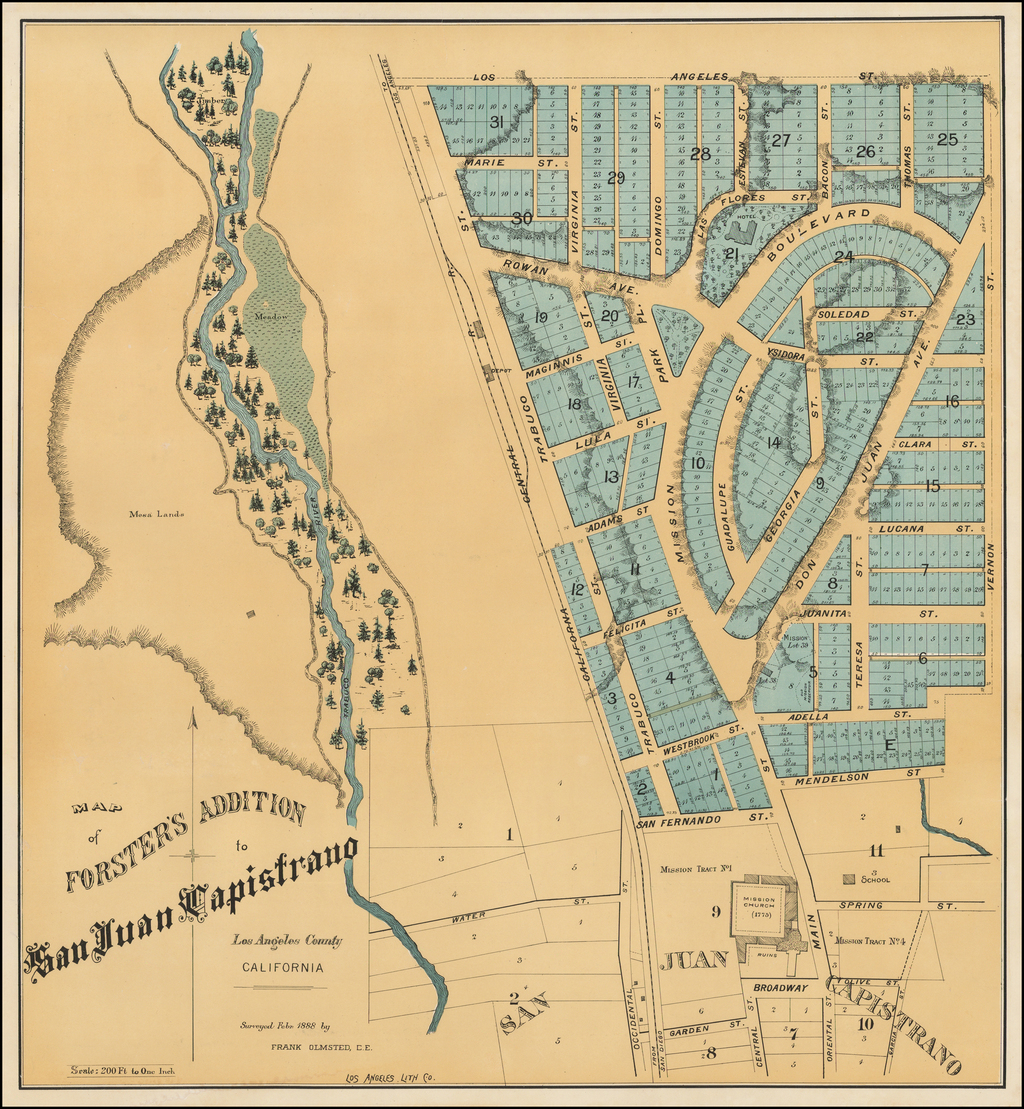 Map of Forster's Addition to San Juan Capistrano.  Los Angeles County California.  Surveyed Febr. 1888 by Frank Olmstead, C.E. By Los Angeles Lithographic Co.