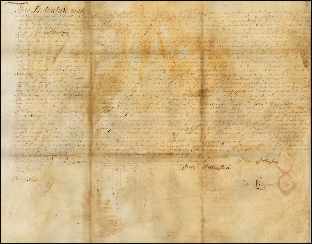 [Colonial Manuscript Map and Indenture -- Wilmington, Delaware] By Anonymous